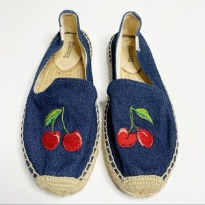 Soludos Cherry Denim Slip On Espadrilles Size 7